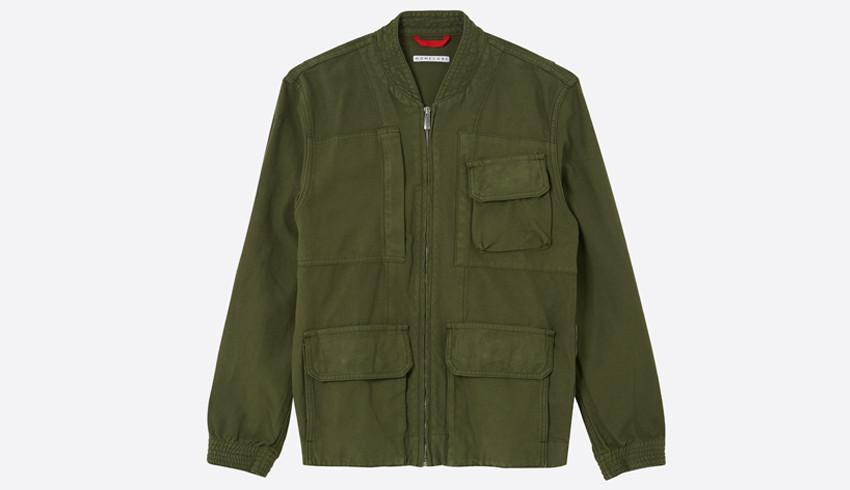 Mens clothing photography, flat lay of green khaki male jacket with pockets