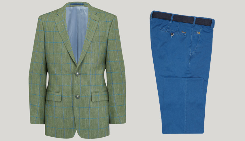 Mens clothing photography, invisible mannequin photo of a green check blazer with blue jeans folded