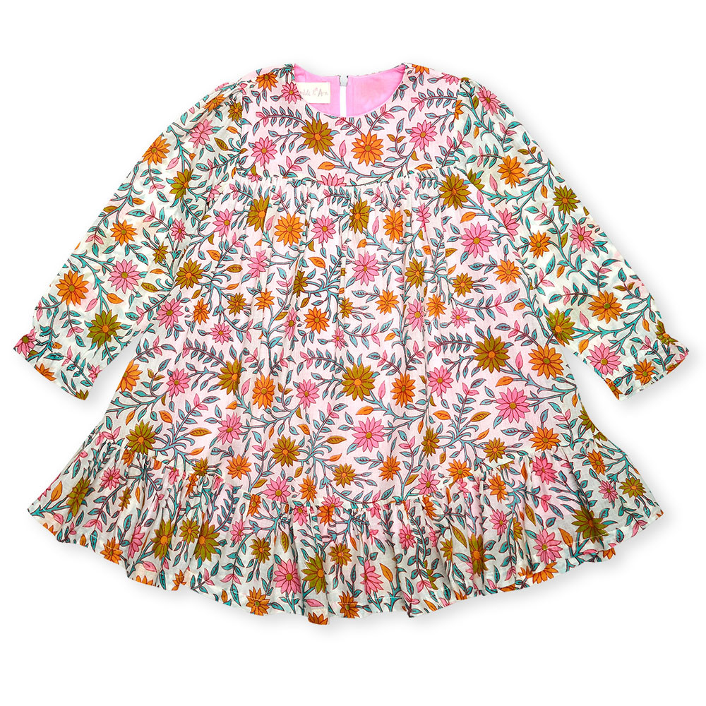 Children's & Baby Clothes Photography, pink orange and blue floral baby dress with long sleeves