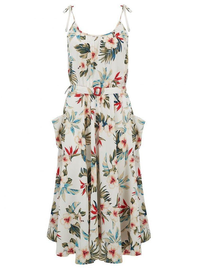 photography studio Brighton photograph of a white summer dress featuring tropical flowers