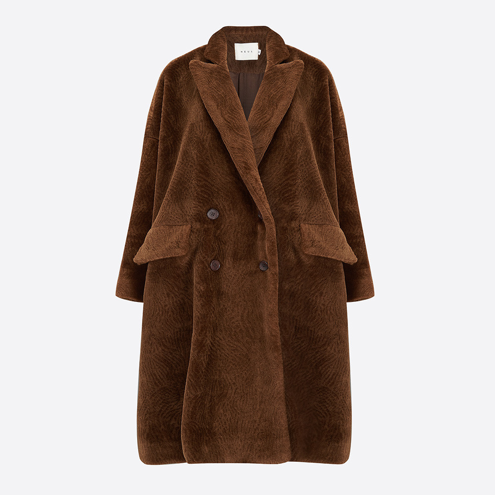 contemporary lifestyle & fashion, brown faux fur coat with pockets and buttons