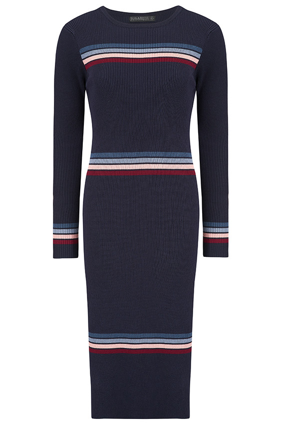 model fashion photoshoot, navy jumper dress with coloured stripes
