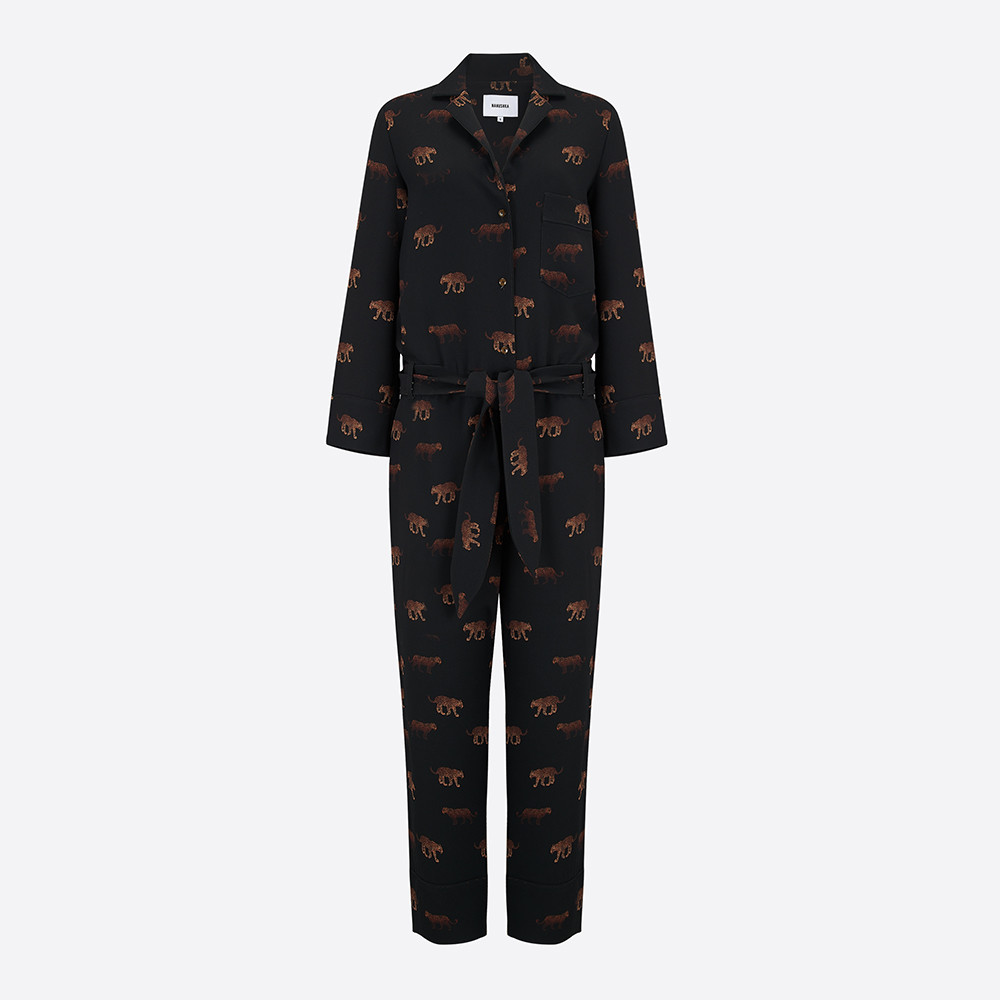 contemporary lifestyle & fashion, long sleeved and long leg printed jumpsuit with a collar