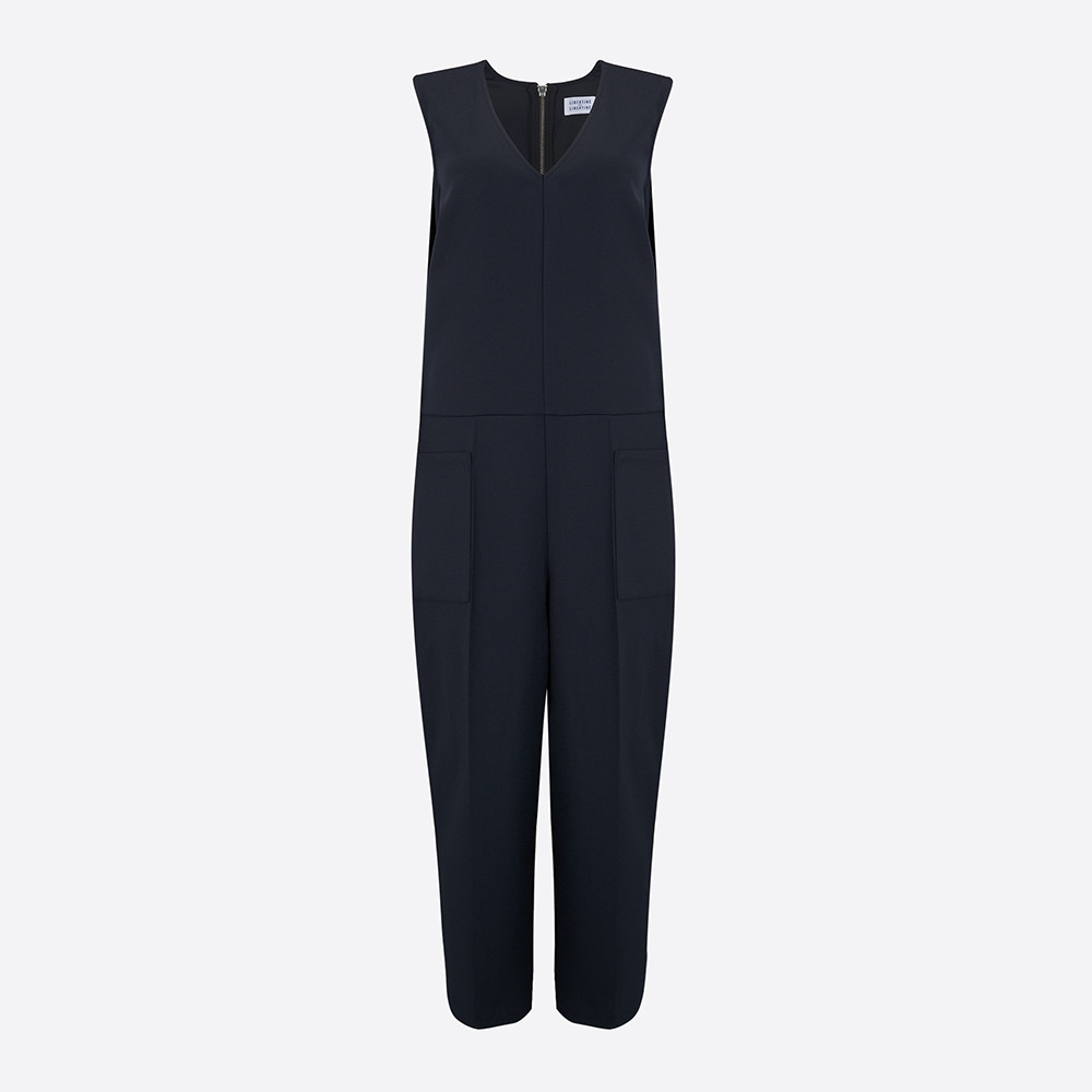 contemporary lifestyle & fashion, sleeveless navy cropped leg jumpsuit