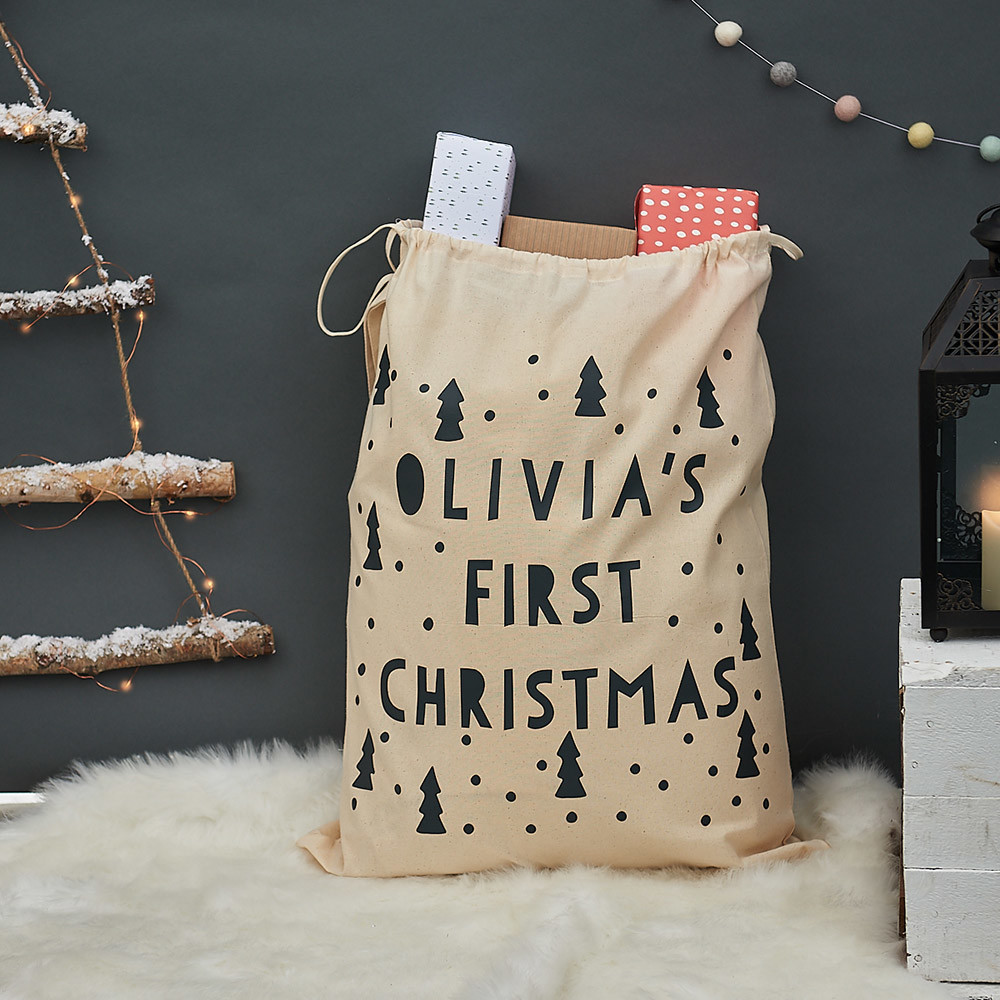 Christmas lifestyle photography, sack of presents with fur rug and gifts