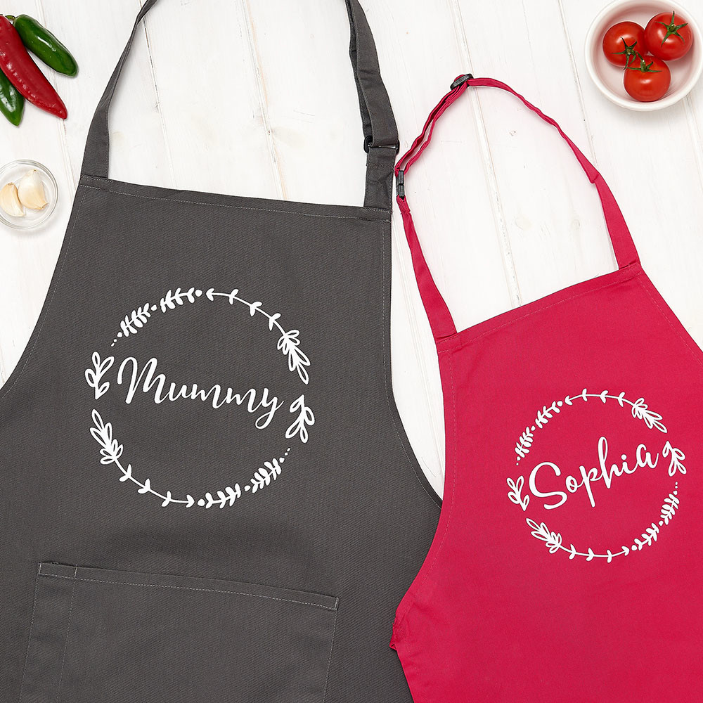 Christmas lifestyle photography, grey and red kitchen aprons with food props