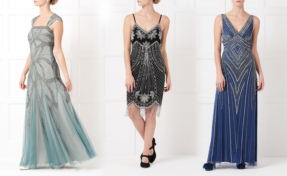Fashion catwalk videos, beaded evening dresses in blue and black worn by a female model