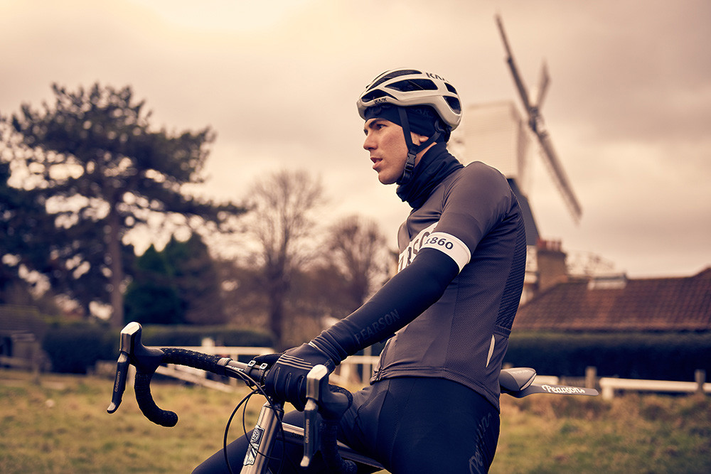 UK location photoshoot, cyclist on bike in the countryside