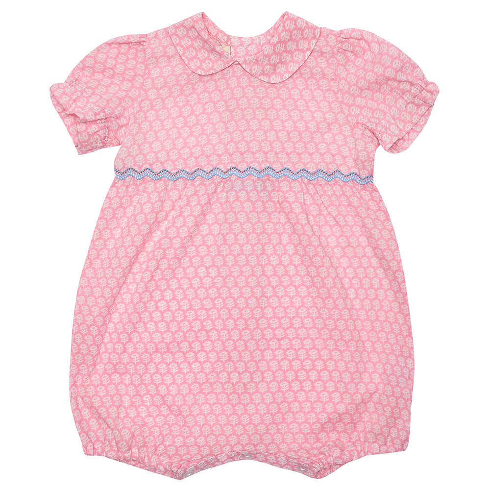 kidswear & baby fashion photography, pink baby romper with purple trim