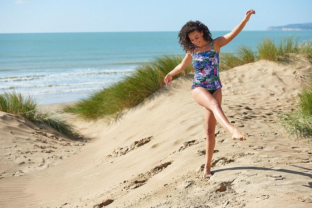 UK location photoshoot, modelling swimwear on the beach