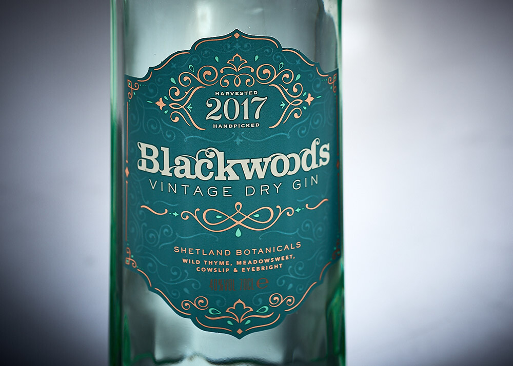 Detail of gin bottle label