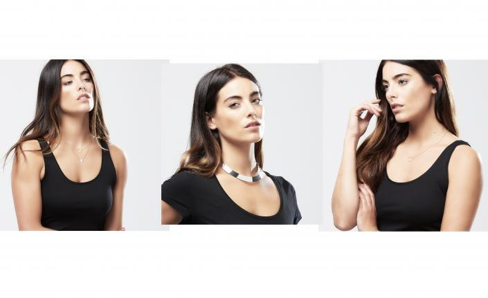 Three close up jewellery model shots necklace photography