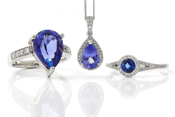 Three shots of purple stone jewellery high end retouching clean white background