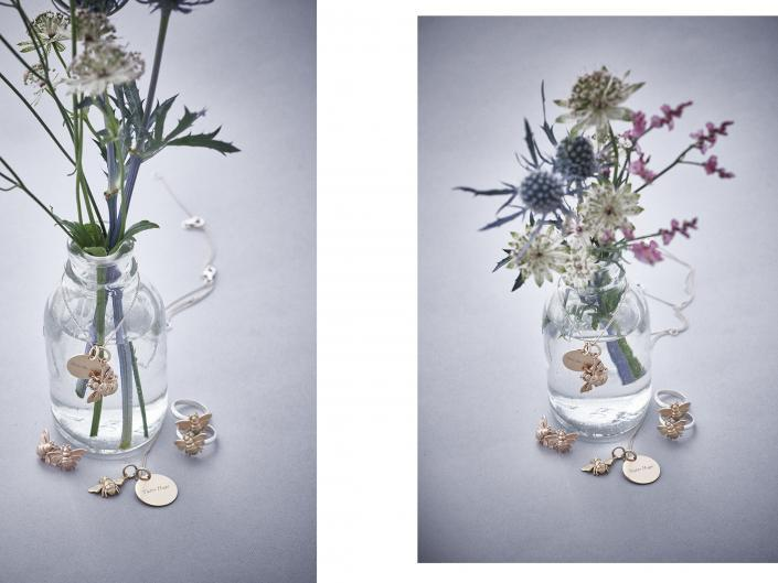 jewellery still life with plant props simple background brighton photography studio