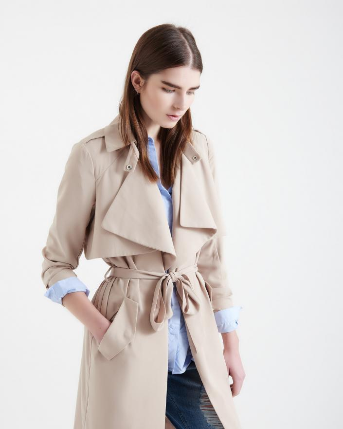 Female brown hair model clothing shoot beige trench style jacket