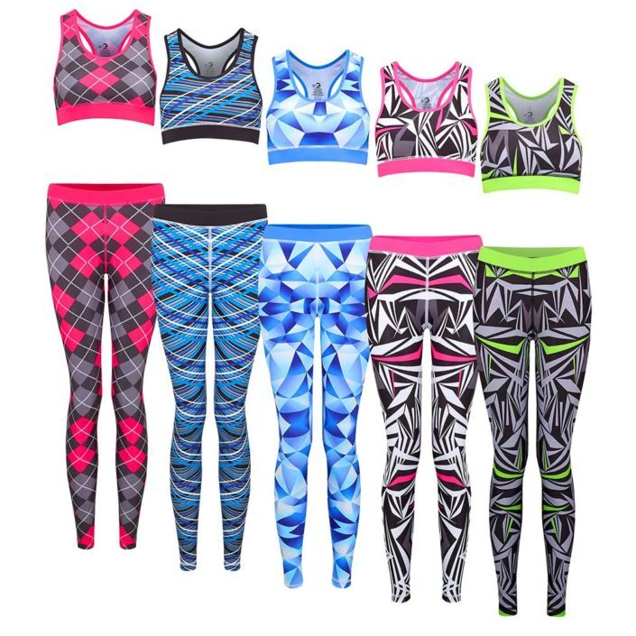 Womens sportswear tiered group shot leggings and sports bra matching outfit