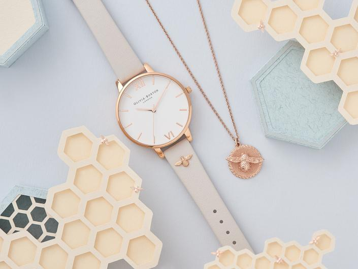 Watches and jewellery styled themed photoshoot with props and pastel colours