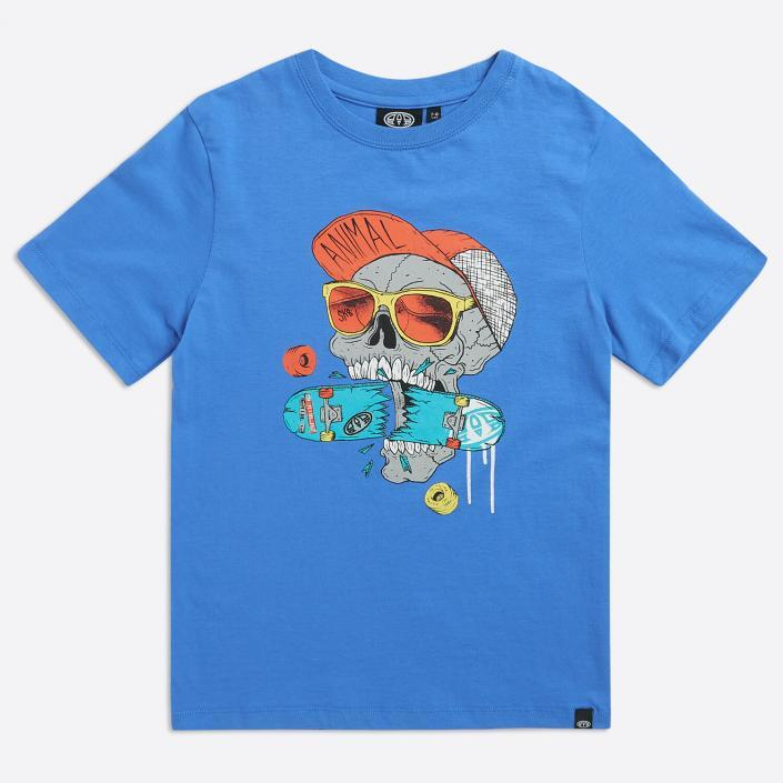 Blue skull t-shirt childrenswear flatlay photography sussex photography studio brighton