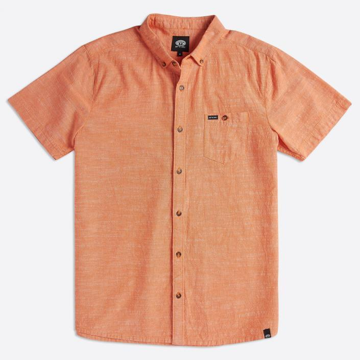Orange mens shirt flatlay photography sussex fashion studio photographer for ecommerce webshop
