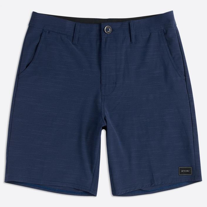 Navy blue casual shorts flatlay photography dropshadow grey background brighton fashion photographer