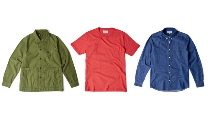 Triple shot mens shirts flatlay green red and blue shirts white background fashion photography studio UK for webshop