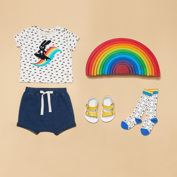 Beige childrenswear styled flatlay shot studio photography sussex UK